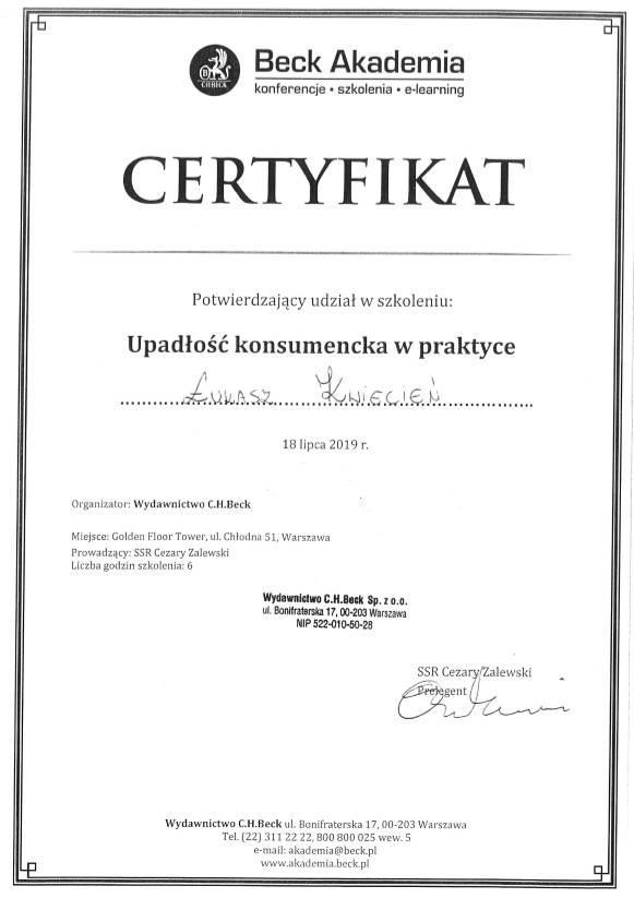 Upadłość konsumencka certyfikat