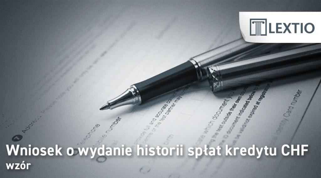 wniosek historia spłat kredytu CHF